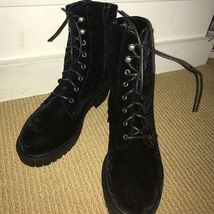 Black velvet LF boots